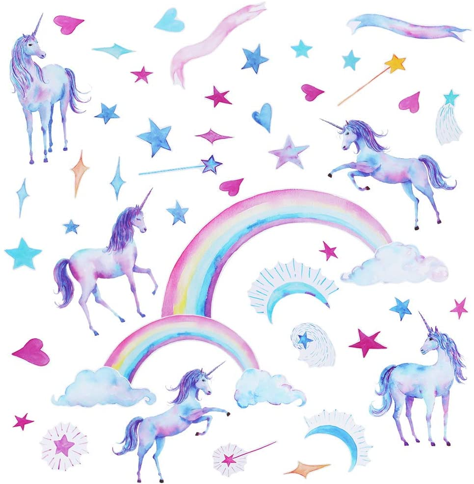 Accmor Unicorn Wall Decals, Removable Unicorn Wall Stickers for Girls Boys Bedroom Kids Room Home Nursery Unicorn Theme Décor