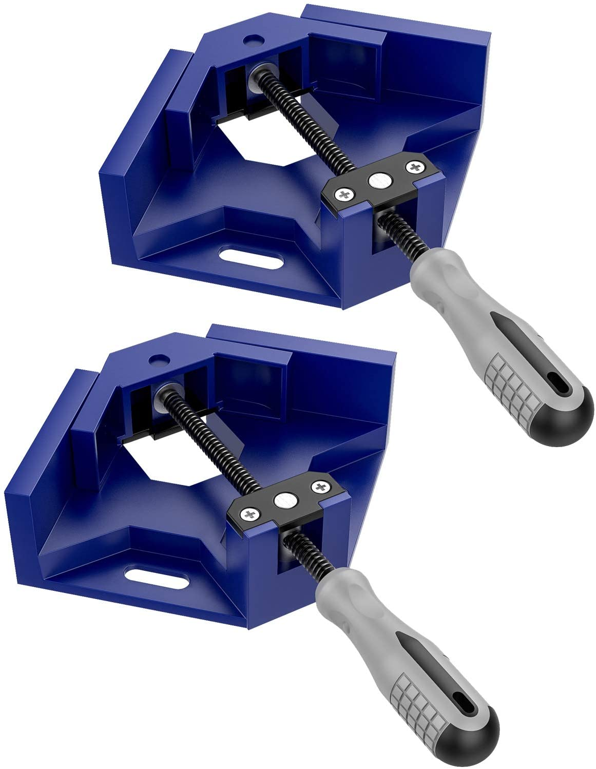 Housolution Right Angle Clamp, [2 PACK] Single Handle 90°Aluminum Alloy Corner Clamp, Right Angle Clip Clamp Tool Woodworking Photo Frame Vise Holder with Adjustable Swing Jaw - Blue