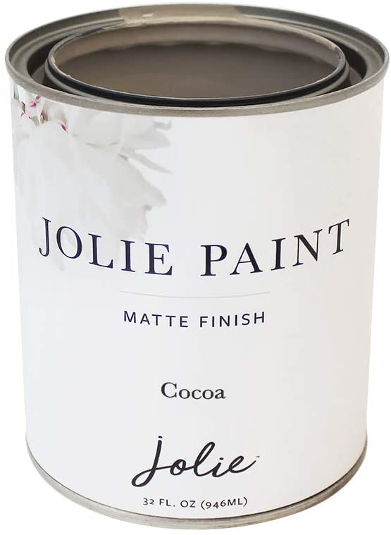 Jolie Paint - Matte Finish Paint for Furniture, cabinets, Floors, Walls, Home Decor and Accessories - Water-Based, Non-Toxic (Quart - 32oz, Cocoa)