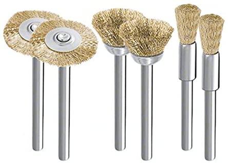 WINOMO 6pcs Rotary Tool Brass Wire Brush Set 5/15/25mm for Dremel Proxxon (Golden)