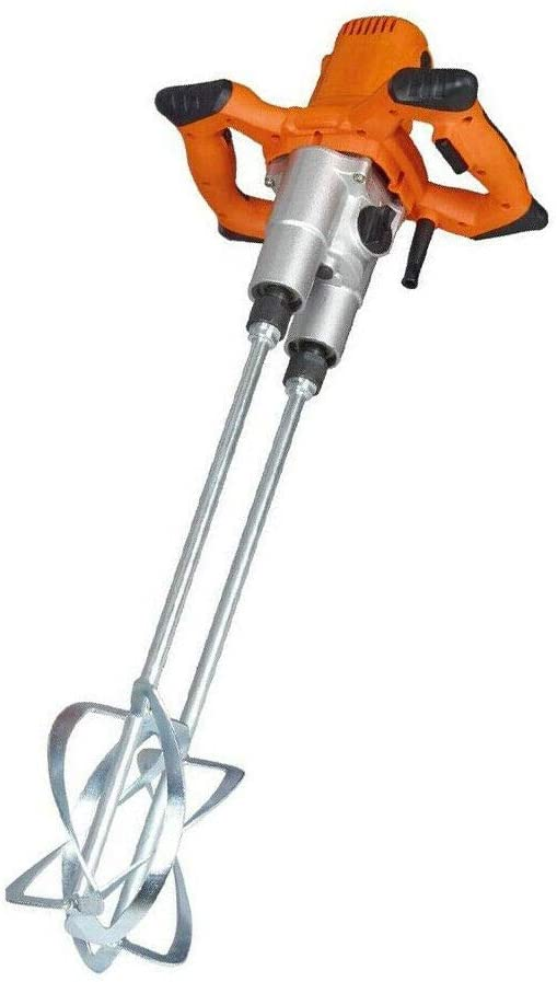 Electric Mortar Mixer, Anti-Slip Handheld Double Paddle Mortar Mixer Dual High Low Gear Speed Paint Cement Grout 1600W Mixer Stirring Tool with US Plug for Stirring Plaster Mortar Paint Cement Grout