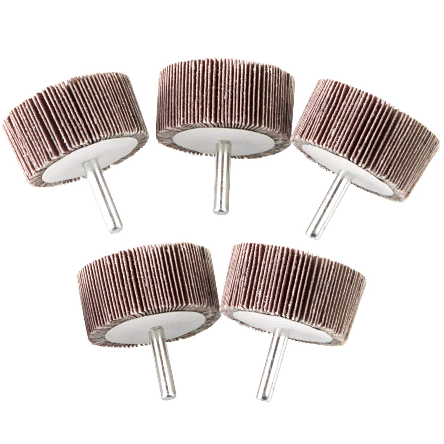 5 Pack 2x1x 1/4 inch Shank Mounted Flap Wheels 80 Grit Aluminum Oxide Abrasive Sanding Flap Wheels for Remove Rust, Weld Burr Polishing Flat - Abrasive Grinding Tool Fit for Most of Drill
