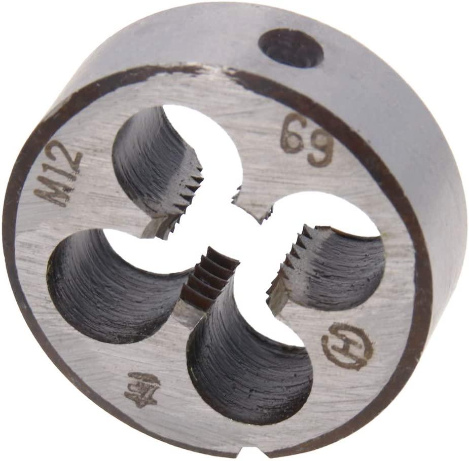 Utoolmart M12 X 1.75 Metric Round Die Left-hand Thread Machine Die, Round Threading Die Alloy Steel 1Pcs