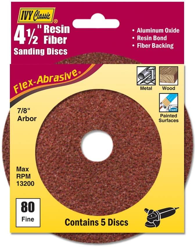 IVY Classic 42309 Flex-Abrasive 4-1/2-Inch x 7/8-Inch 80 Grit Fine Resin Fiber Disc, 5/Card