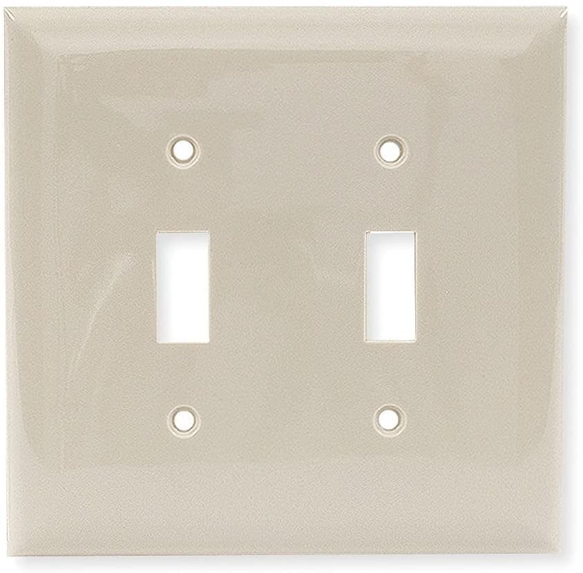 Hubbell Kellems Toggle Switch Wall Plate, Ivory, Number of Gangs: 2, Weather Resistant: No - NPJ2I (Pack of 10)