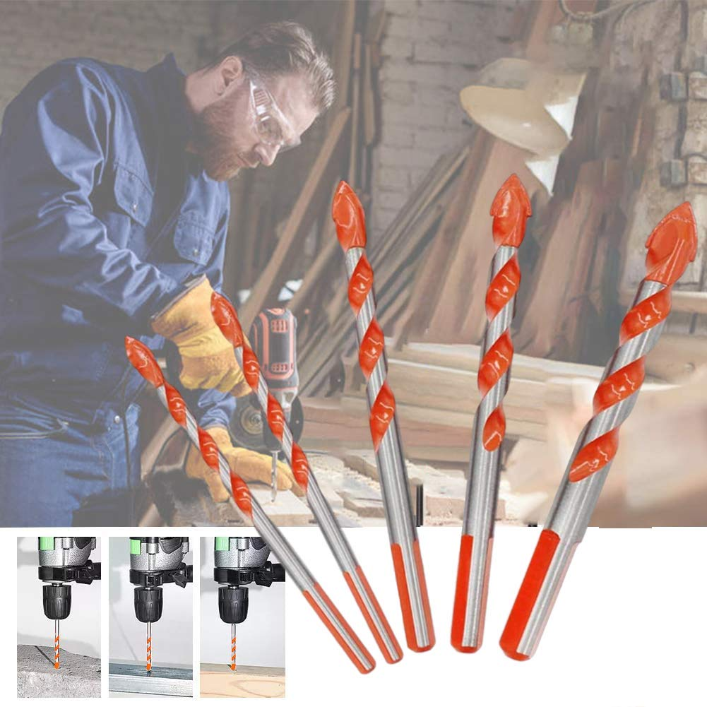 Multifunctional Triangular-Overlord Handle Working Multifunctional Drill Bits Set,Ultimate Punching Drill Bits Set with Tungsten Carbide Tip for Tile,Concrete,Brick,Glass,Plastic and Wood,Multi-Material Drill Bit