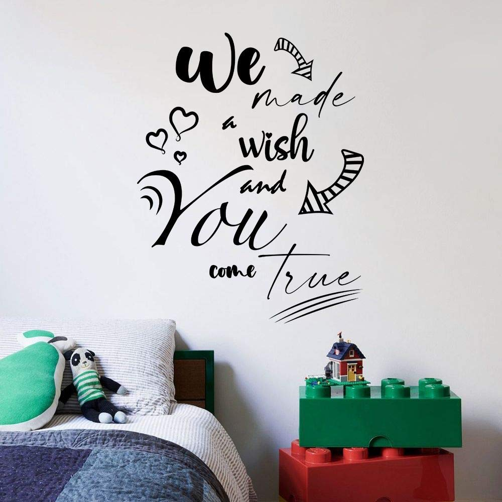 We Made A Wish Come True Baby Children Family Quote Quotes Wall Sticker Art Decal for Girls Boys Room Bedroom Nursery Kindergarten Fun Home Decor Stickers Wall Art Vinyl Decoration Size (30x30 inch)