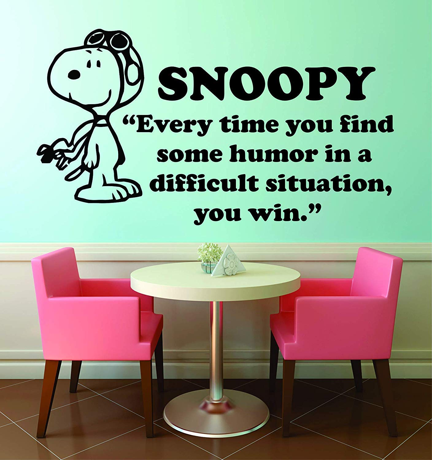 You Win Snoopy Popular Quote Peanuts Cartoon Quotes Wall Sticker Art Decal for Girls Boys Room Bedroom Nursery Kindergarten House Fun Home Decor Stickers Wall Art Vinyl Decoration Size (35x40 inch)