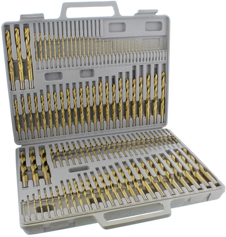 ABN Titanium Drill Bits Set Twist Drill Bit for Metal Drill Bits SAE Standard 1/16-1/2 Inch, A-Z, 1-60 Sizes - 115-Piece
