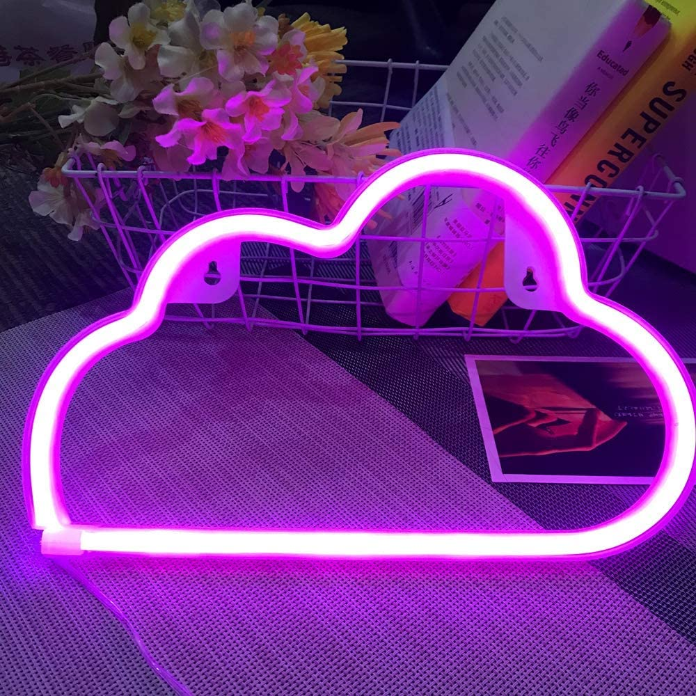 Fancci Cloud Neon Sign, LED Neon Signs for Wall Decor, Neon Signs for Bedroom, Neon Light Sign, USB/Battery Neon Lights for Birthday, Wedding Party, Christmas, New Year Decoration, Home Decor (Pink)