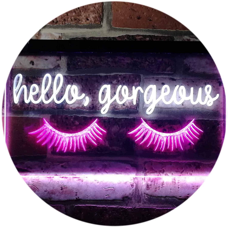 Hello Gorgeous Eyelash Room Display Dual Color LED Neon Sign White & Purple 16