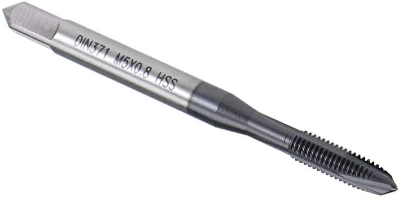 uxcell M5 x 0.8 Spiral Point Threading Tap, Ground Threads H2, High Speed Steel 6542, TICN Coated Finish, Round Shank with Square End, DIN371/376