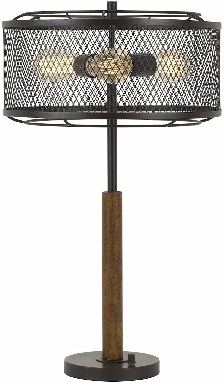 60W X 3 Dawson Metal/Wood Table Lamp with Metal Mesh Shade