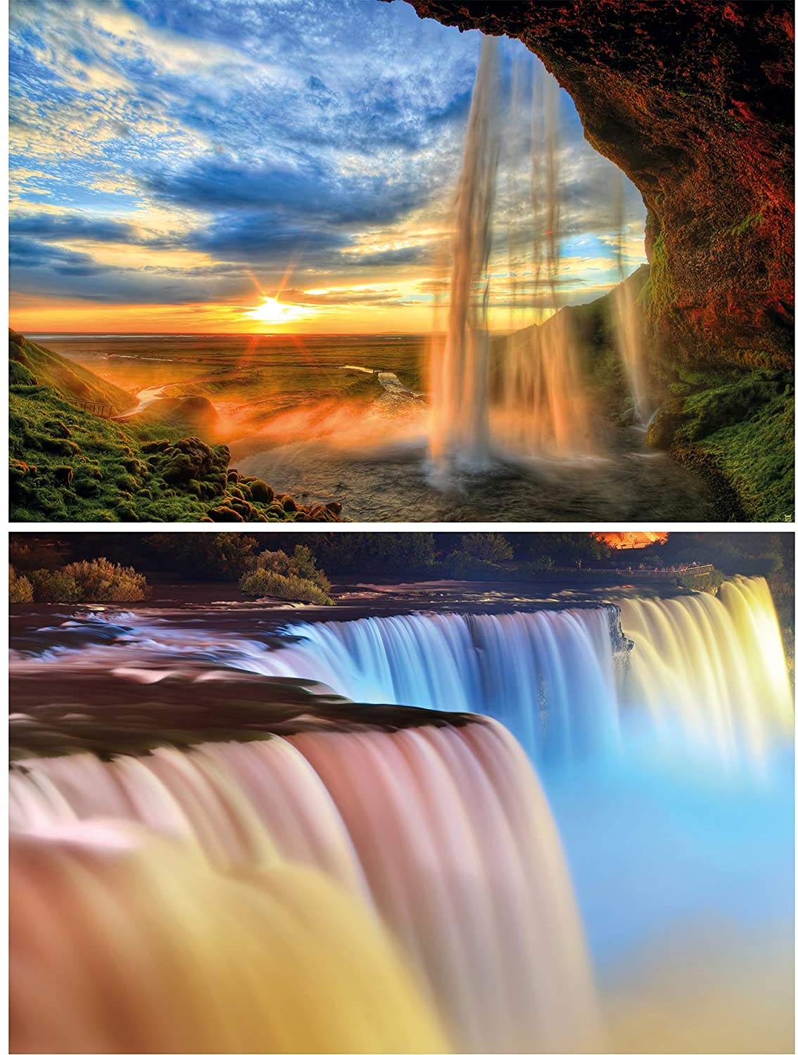 GREAT ART Set of 2 XXL Posters – Waterfalls – Niagara Falls & Sunset Park Colorful Oasis Holiday Nature Landscape Wall Picture Decoration Photo Poster (140 x 100cm)