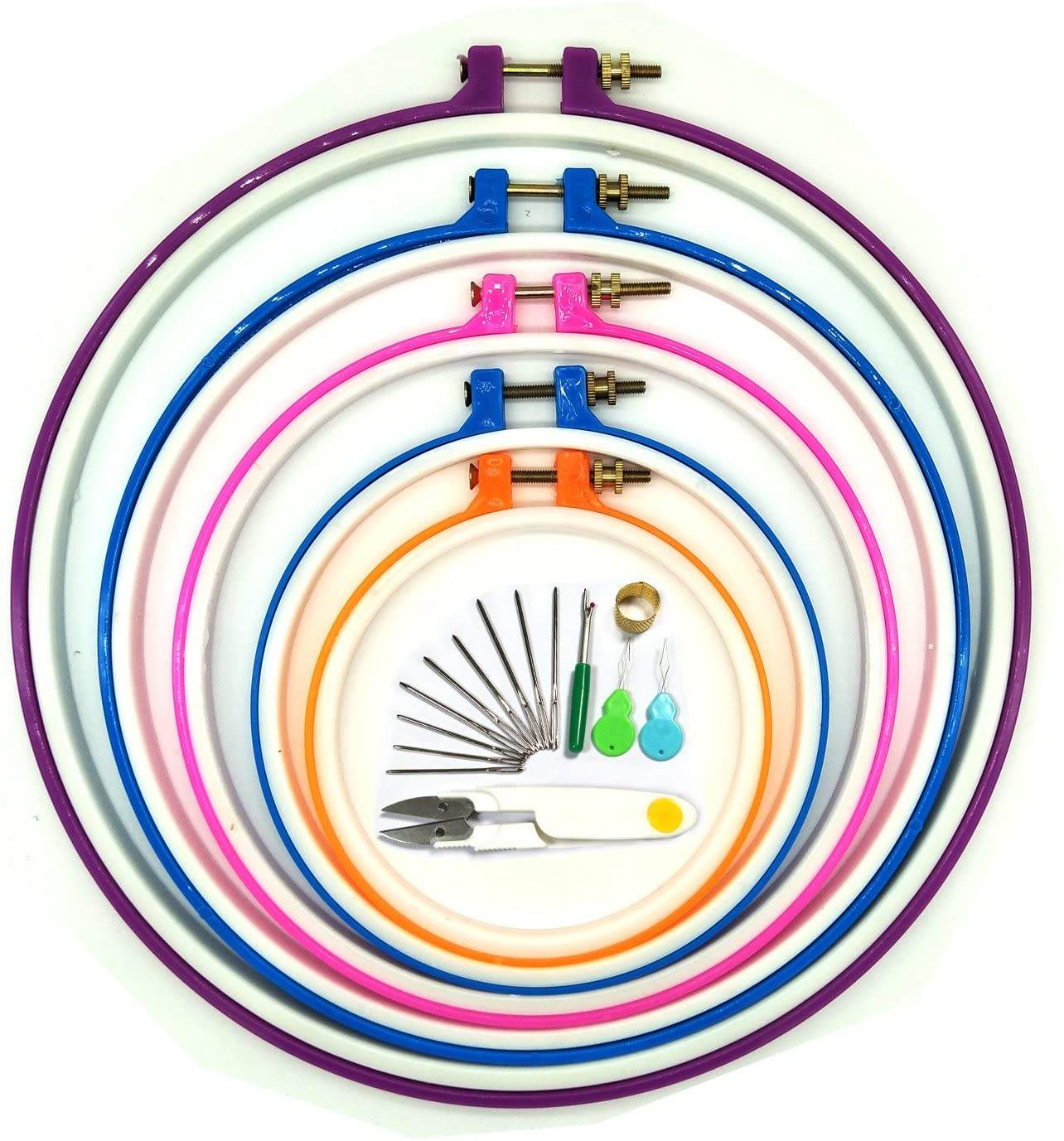 Embroidery Hoops, Wartoon 5 Pieces Cross Stitch Hoop Ring Embroidery Circle Set 5 inch to 11 inch (Multicolor)