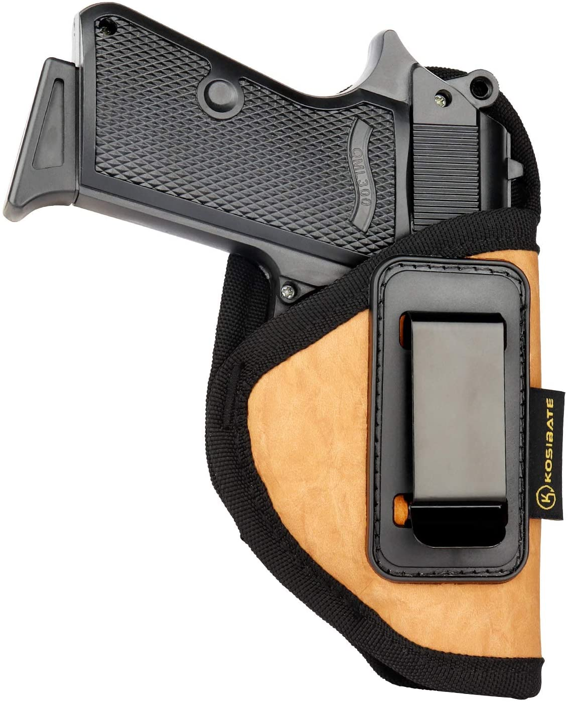 Kosibate S&W Bodyguard 380 Holster, IWB Holster PU Leather Concealed Carry Compatible with Ruger LCP II, Taurus TCP, Sig P238, Jimenez JA, PPK .380