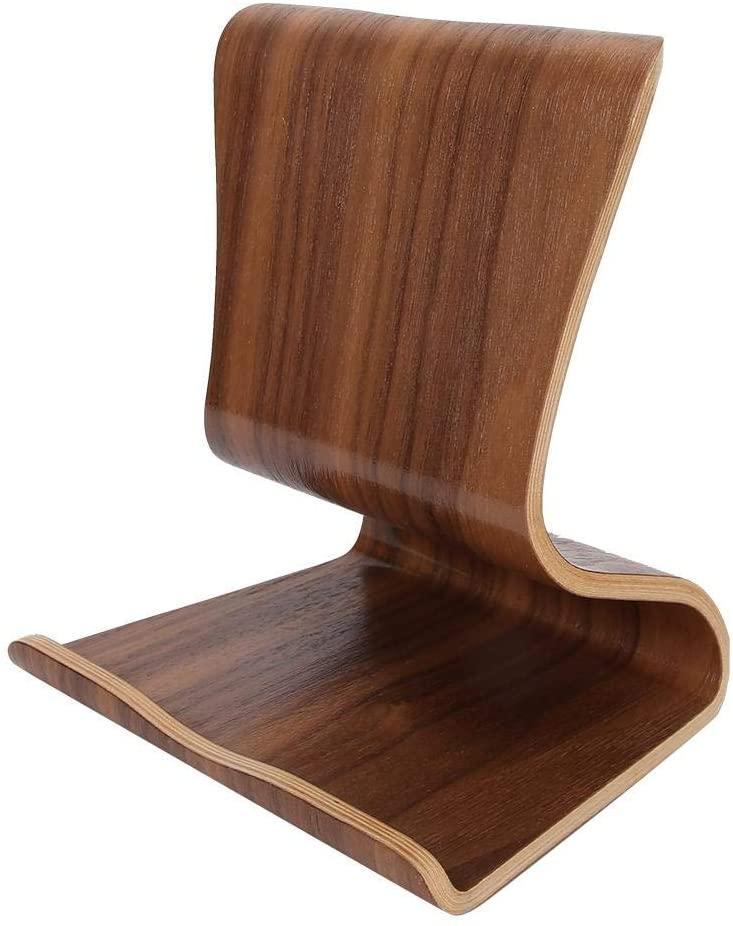 Desktop Mobile Phone Stand, Wooden Mobile Phone Stand Table Top Tablet Holder Bracket for Bedside Office(Brown)