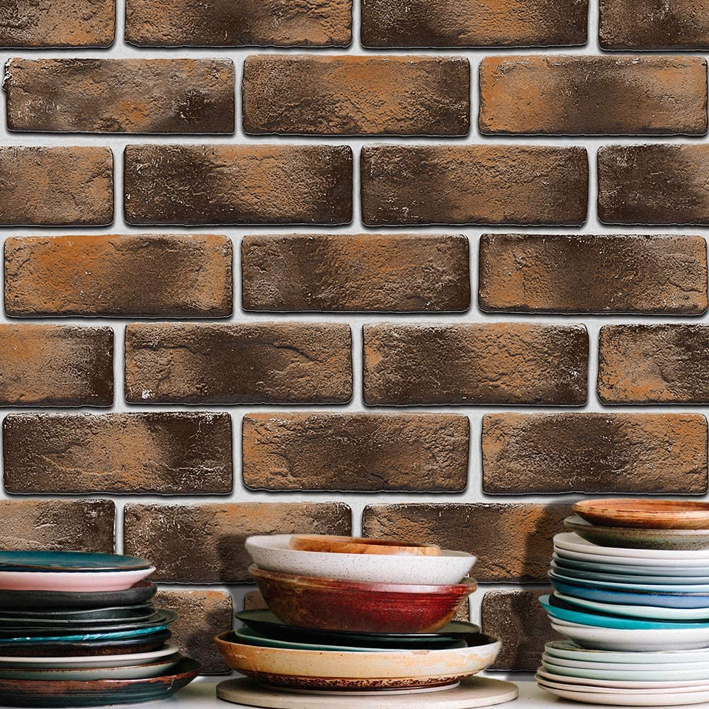 JZ·HOME 1702 Distressed Faux Brick Wallpaper Brown/Taupe/White Bedroom Living Room Kitchen Hotel Wall Decoration 20.8in×32.8ft
