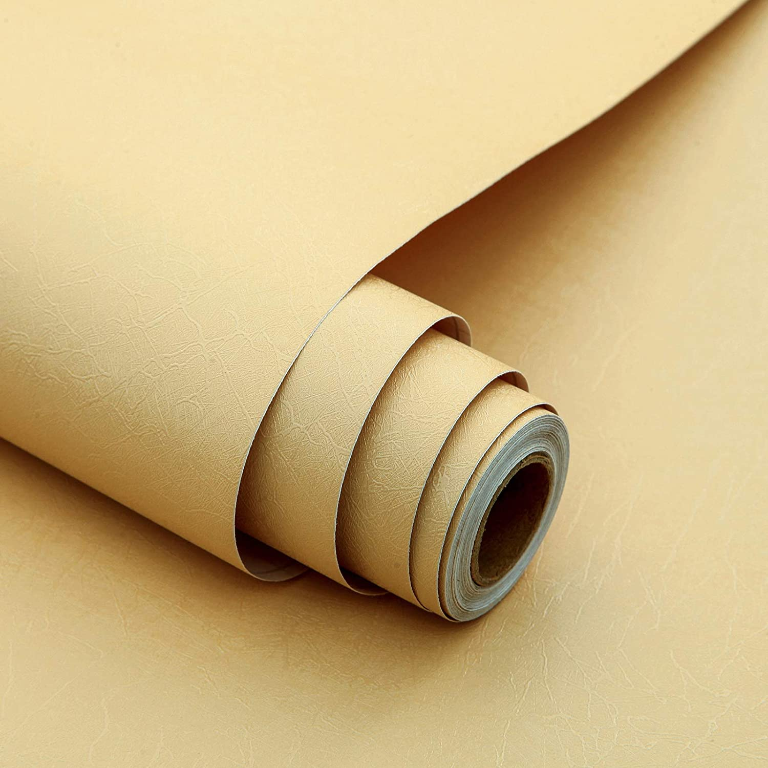 Beige Silk Peel and Stick Wallpaper Embossed Removable Self Adhesive Wallpaper Stick and Peel Wallpaper Beige Contact Paper Vinyl Film Wall Covering Home Decoration Shelf Drawer Liner 17.7