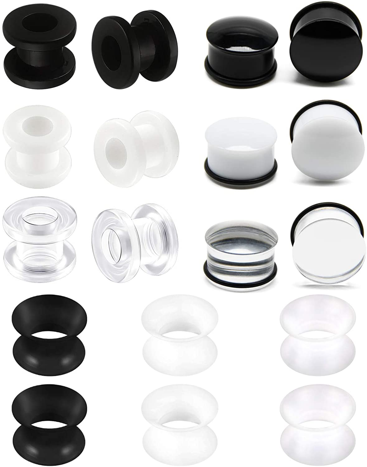 Briana Williams Acrylic & Ultra Thin Silicone Tunnel Plugs Expander Clear Black White Ear Gauges Expander Ear Stretching Gauge Earlets Plug Gauges Earring Lobe Piercing 6-16MM