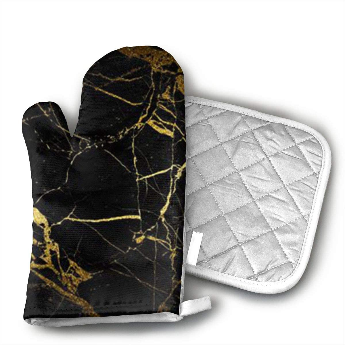 antcreptson Gold and Black Wallpaper Oven Mitts and Pot Holders Insulated Gloves & Kitchen Counter Safe Mats for Cooking BBQ Baking Grilling (2-Piece Set)