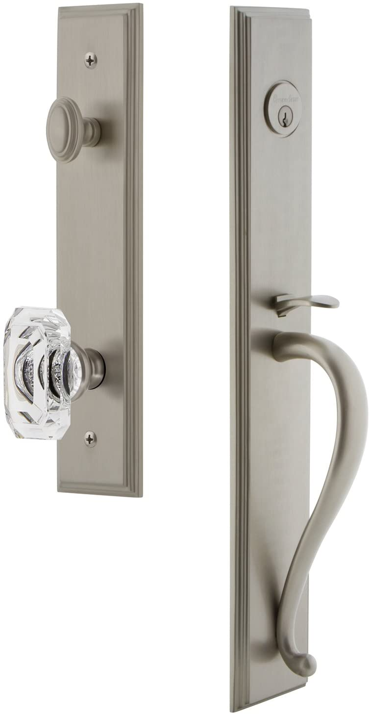 Grandeur 844595 Hardware Carre' One-Piece Handleset with S Grip and Baguette Clear Crystal Knob in Satin Nickel, Backset Size-2.375