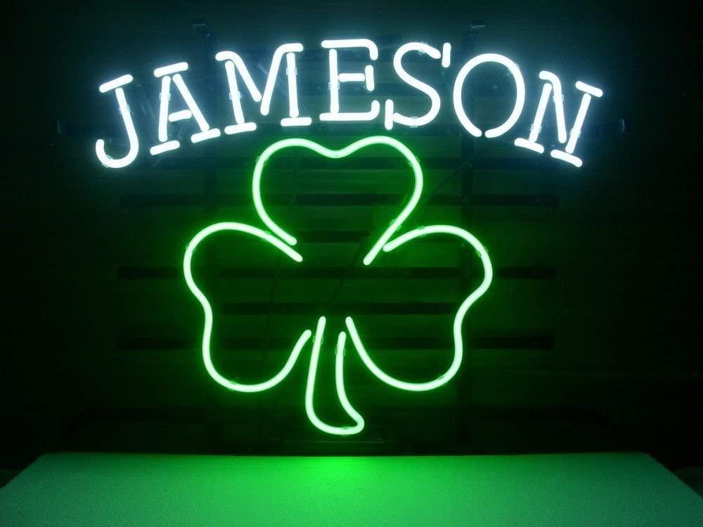 Urby Jameson Irish Whiskey Shamrock Real Glass Neon Light Sign Home Beer Bar Pub Recreation Room Game Room Windows Garage Wall Sign 18''x14'' A12-07