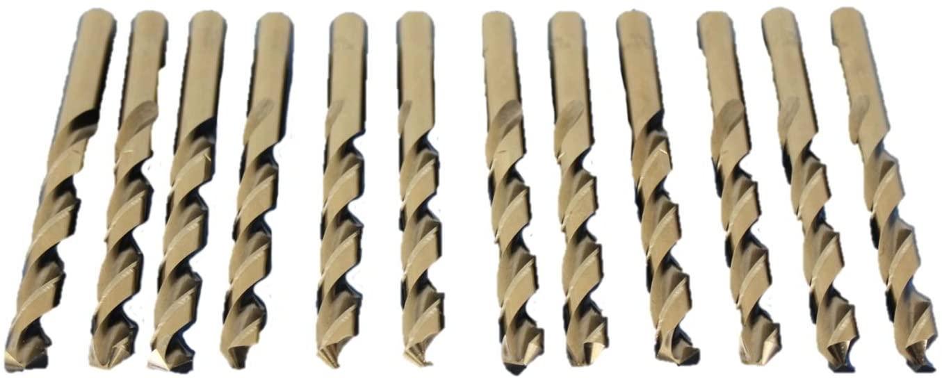 TEMO 12 pc 3/8 Inch Cobalt 135 Degree Jobber Drill Bit 5 Inch Length