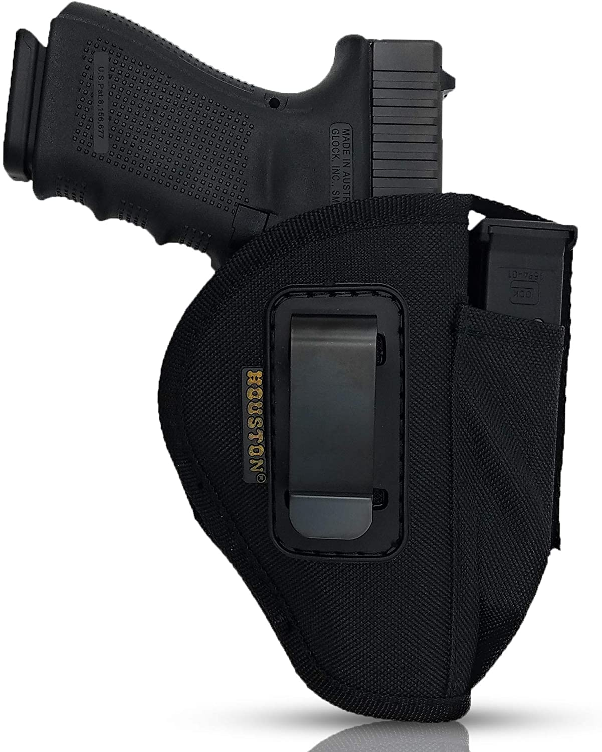 IWB and OWB Gun + Mag Holster - by Houston - Tactical Nylon | Ambidextrous Inside and Outside The Waistband | Fits: Glock 42, SIG P238 P938, Kahr 380, Kahr 9mm.40 & .45 Cal, SCCY 380 | (Large)