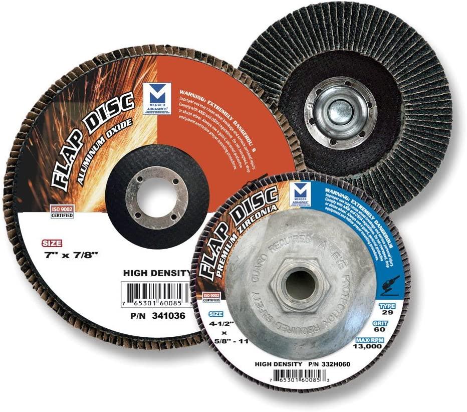 Mercer Abrasives 332040-10 Type 29 High Density Flap Discs Premium Zirconia 4-1/2-Inch by 7/8-Inch, 40 Grit, 10-Pack