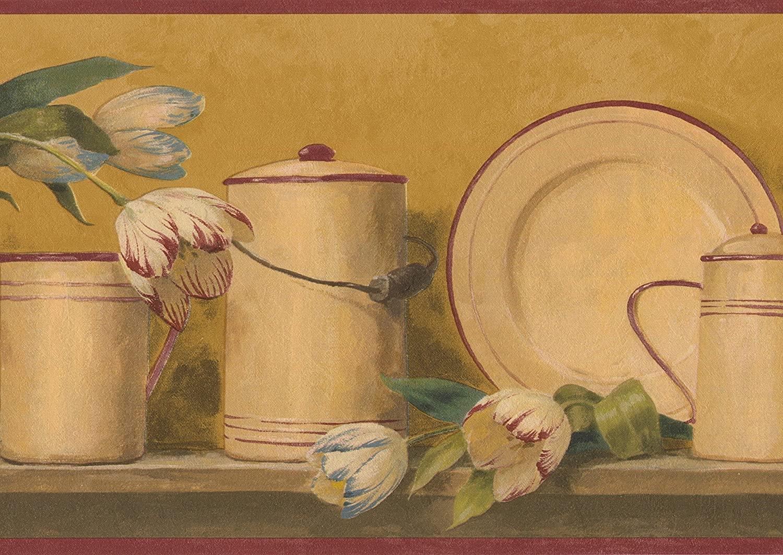 Beige Red Blue Roses Kitchenware Mustard Green Wallpaper Border Vintage Design, Roll 15' x 8.25''