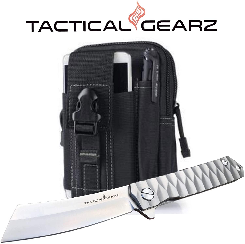 Tc4 Titanium Pocket Knife! TG Saint S, Full Tc4 Titanium Handle! Ball Bearing System, Sharp CPM-D2 Steel Straight Razor Blade! Includes Sheath!