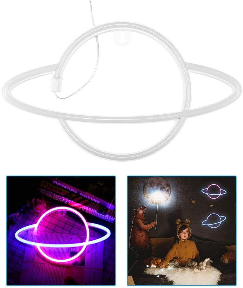 TIEMORE Planet Neon Lights Led Hanging Neon Lamp for Room Wall Kids Bedroom
