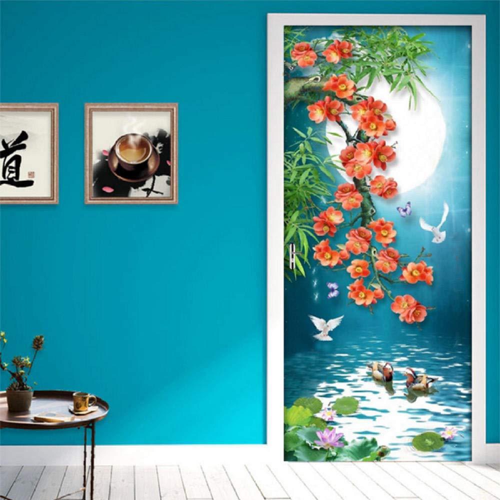 3D Palm Tree Beach Door Stickers Wall Murals Wallpaper Vinyl Removable Home Decoration 30.3