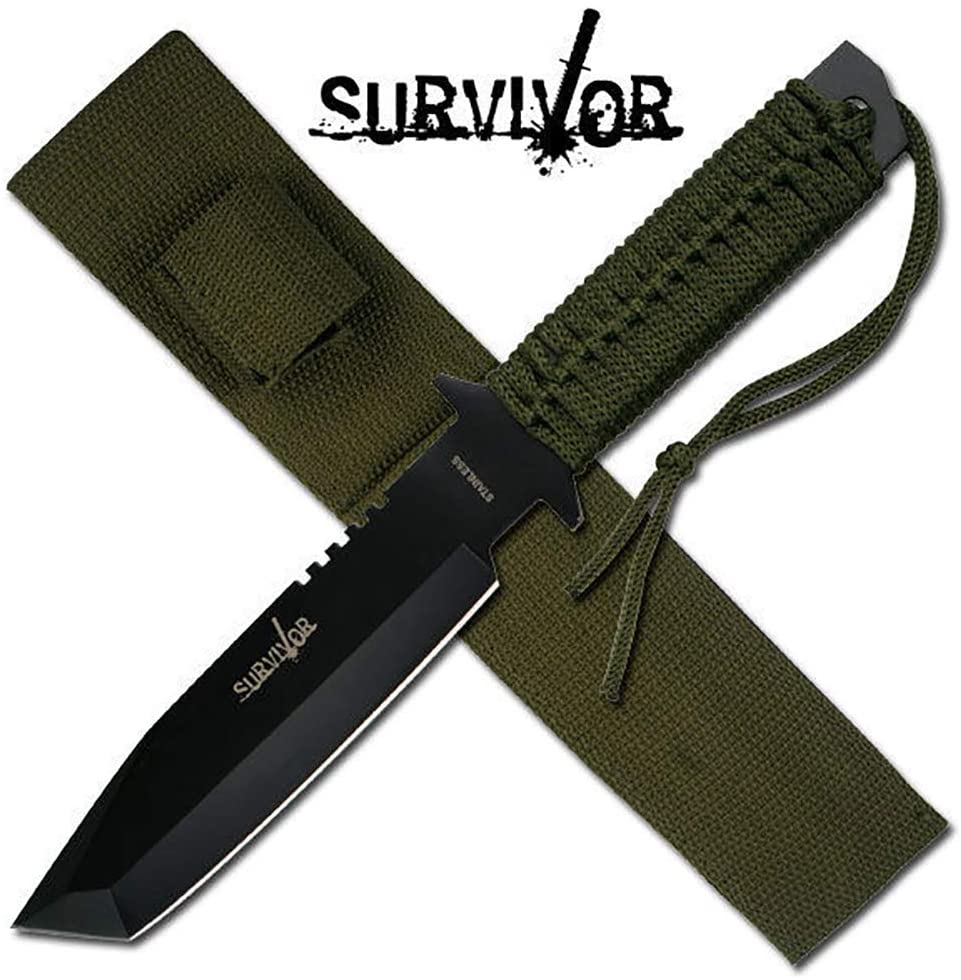 Survivor Black Blade Fixed Blade Survivor Hunting Knife Knives #7524 + Free eBook by OnlyUS