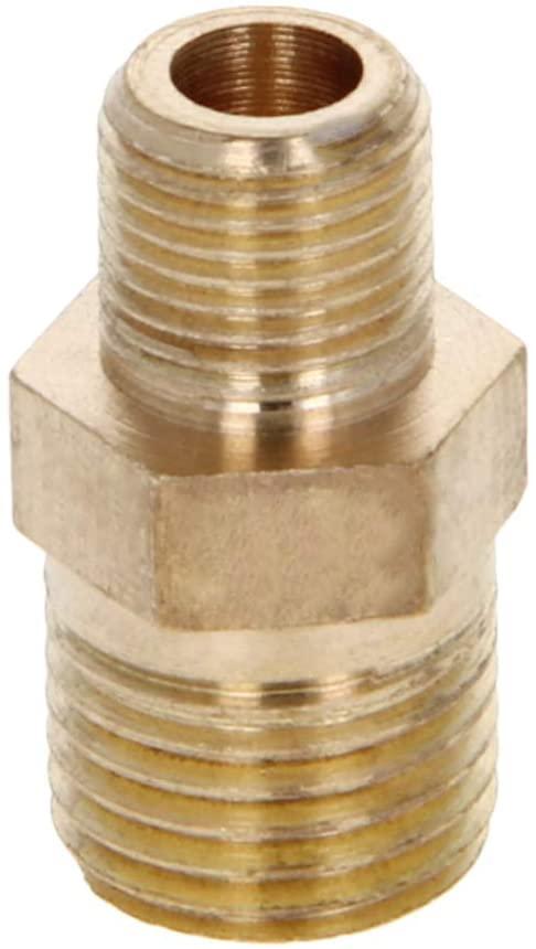 MroMax Brass Pipe Fitting Reducing Hex Nipple 1/4 BSP Male X 1/8 BSP Male Adapter Brass Tone 5pcs