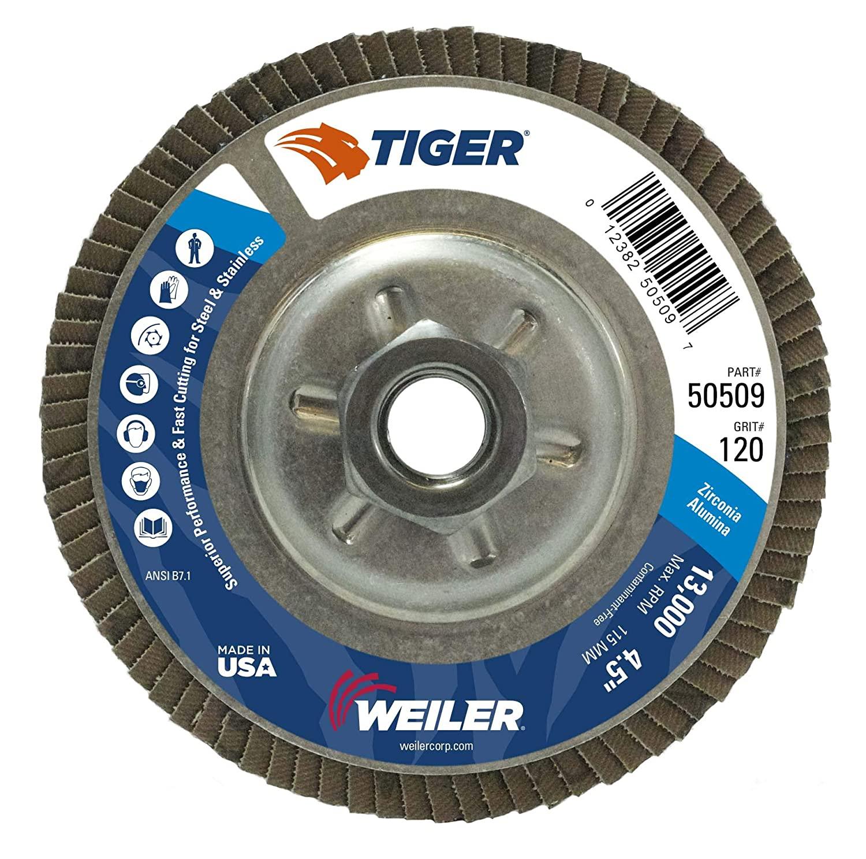 Weiler 50509 Tiger Abrasive Flap Disc, Type 29, Threaded Hole, Aluminum Backing, Zirconia Alumina, 4-1/2