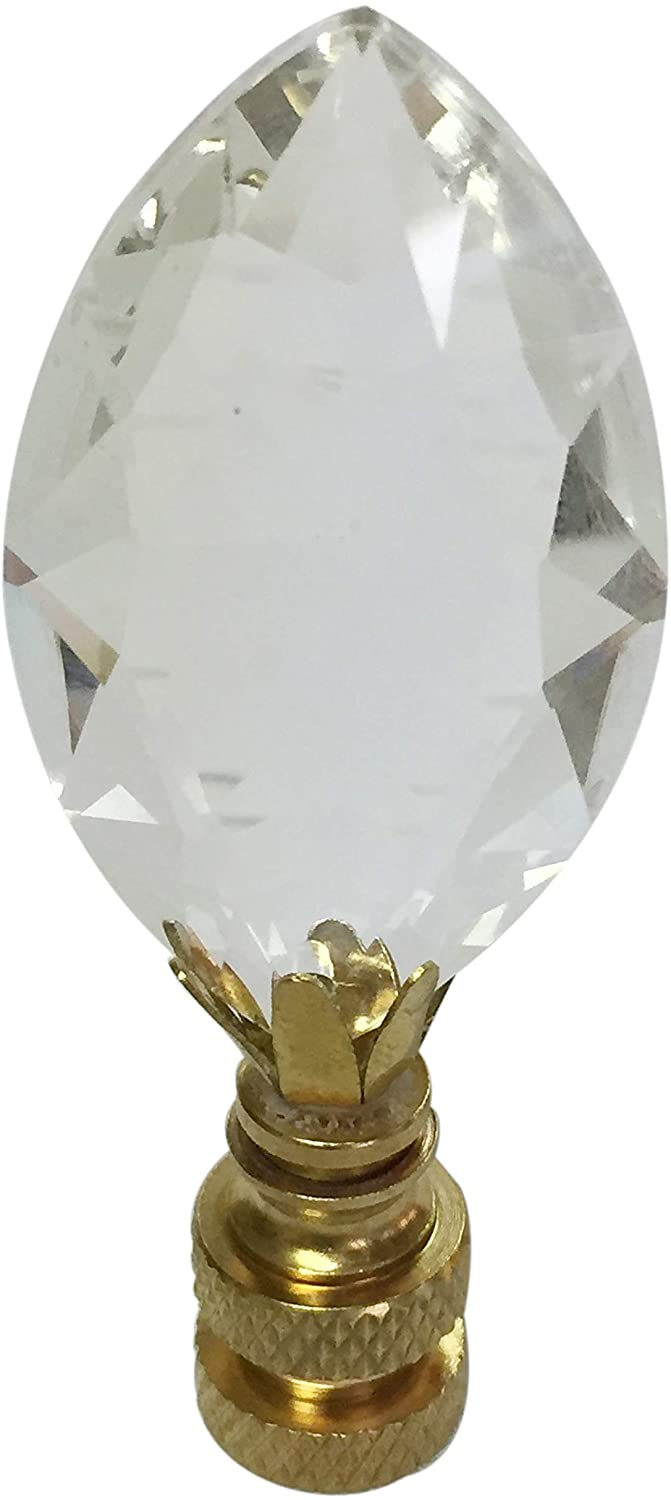 Royal Designs Pear Shaped Clear K9 Crystal Lamp Finial for Lamp Shade with Polished Brass Base Single