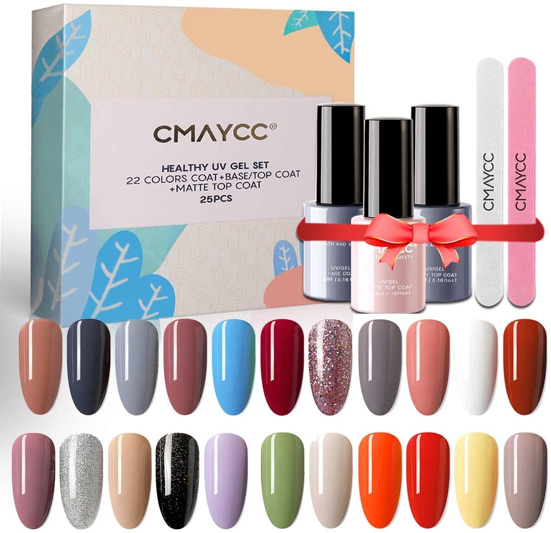 CMAYCC Nail Polish Gel, 25 Pcs Gel Nail Polish Kit 22 Color UV LED Nail Gel with Glossy & Matte Top Coat and Base Coat