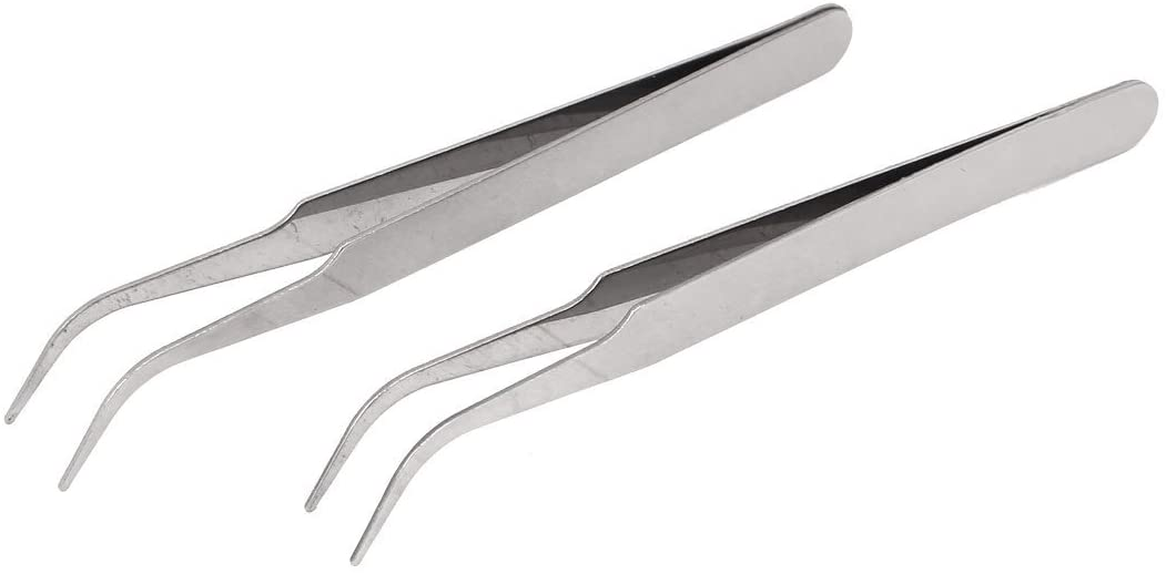 uxcell 110mm Length Bent Curved Pointed Tip Tweezerss Tool 2 Pcs