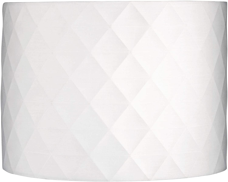 Off-White Diamond Drum Lamp Shade 15x15x11 (Spider) - Springcrest
