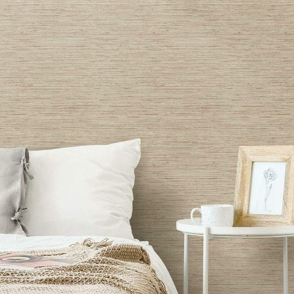 RoomMates Pink & Taupe Grasscloth Peel and Stick Removable Wallpaper