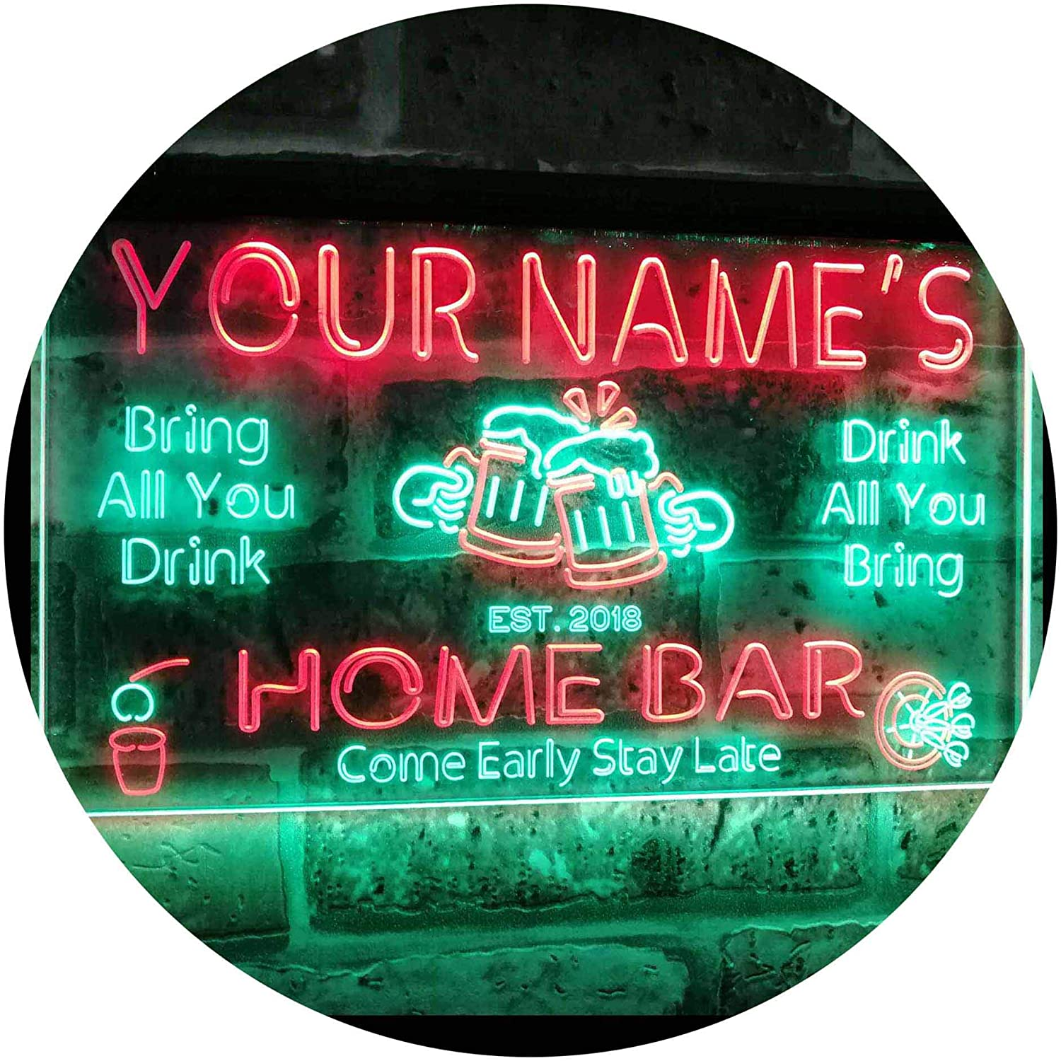 ADVPRO Personalized Your Name Custom Home Bar Beer Established Year Dual Color LED Neon Sign Green & Red 16 x 12 Inches st6s43-p1-tm-gr