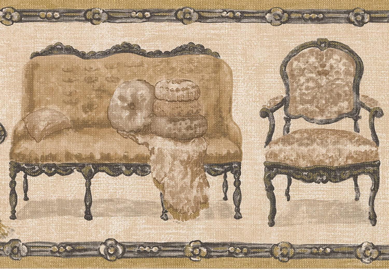 Beige Retro Couch Chair Loveseat Creme Wallpaper Border Retro Design, Roll 15' x 7''