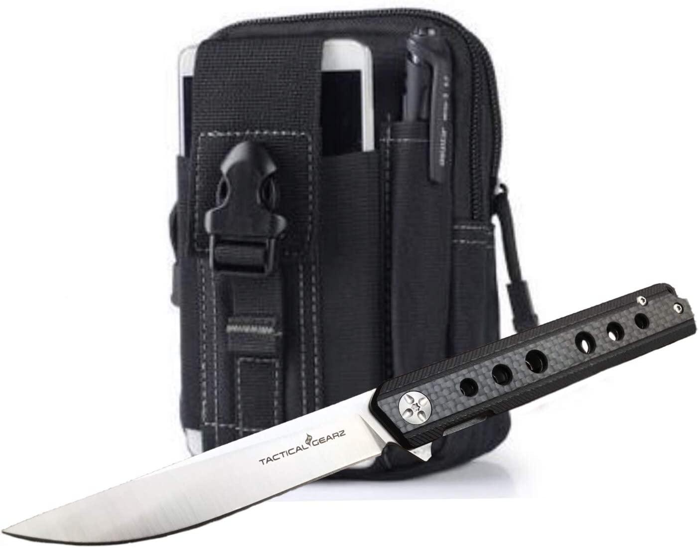 TACTICAL GEARZ Carbon Fiber Pocket Knife! TG Torus, Solid Carbon Fiber Handle! Razor Sharp D2 Steel Blade! Ball Bearing Pivot System Open! Includes Sheath!