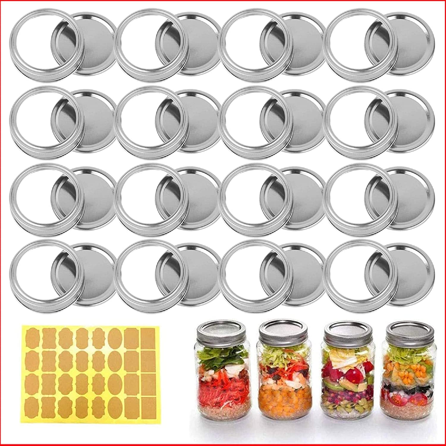 24 Sets 70MM Regular Mouth Mason Canning Jar Lids and Bands, Split-Type Canning Lids and Rings Reusable Leak Proof and Secure Canning Jar Caps (70mm Lids & Bands(24 Sets Silver)