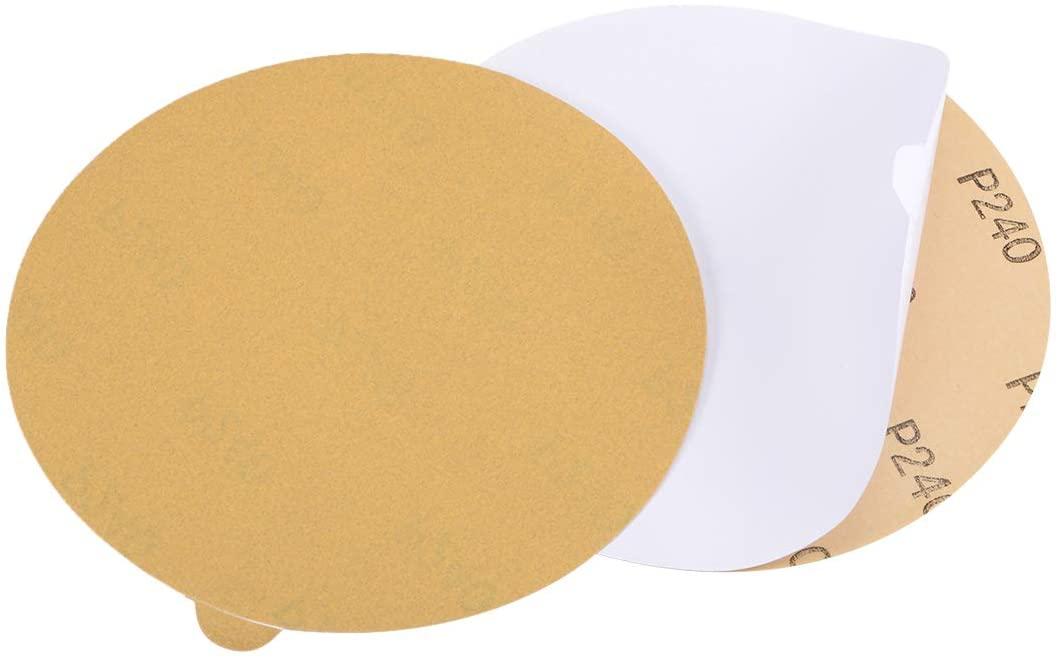 uxcell 6-Inch PSA Sanding Disc Aluminum Oxide Adhesive Back Sandpaper Yellow 240 Grit 2 Pcs