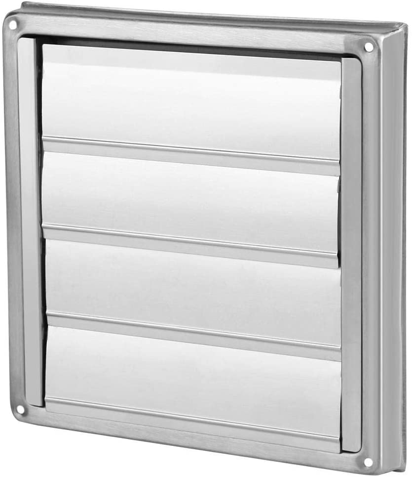 Square Air Vent Duct Grill, 100mm Stainless Steel Wall Air Vent Square Tumble Dryer Extractor Fan Outlet Perfect for Using in Tumble Dryer Vent Pipes and Hoses Bathroom Vents and Extractors