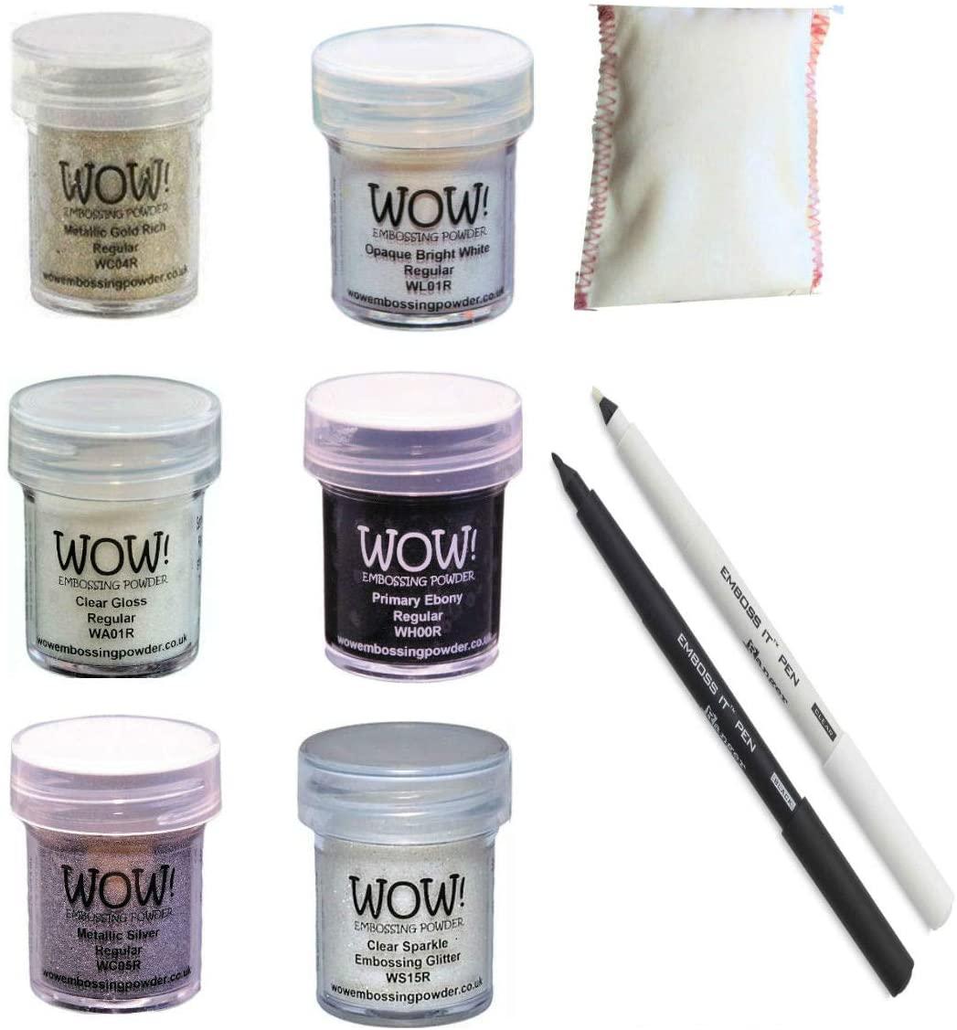 Embossing Starter Kit Bundle - 6 Embossing Powders, 1 Bye Bye Static Pad and Two Ranger Embossing Pens (Black/White pens)