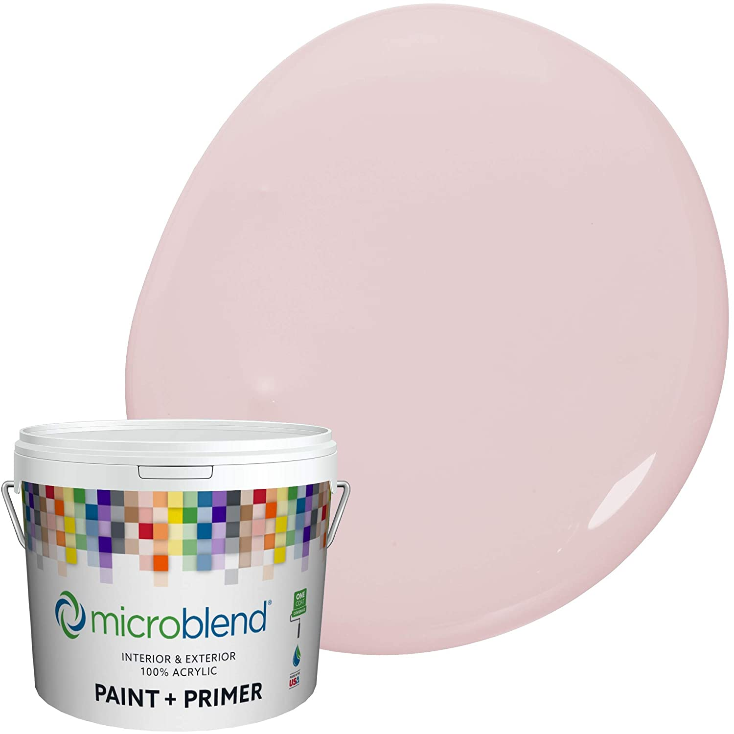 Microblend Interior Paint and Primer - Pink/Putty Pink, Eggshell Sheen, 1-Gallon, Premium Quality, One Coat Hide, Low VOC, Washable, Microblend Violets Family